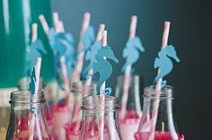 Cute Seahorse straw adornments from HoneyBash