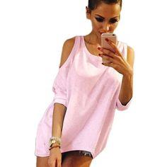 18 Summer Women T-Shirt O-Neck Solid Color Off Shoulder Sexy Long Womens Top Tees Loose Casual T Shirt Plus Size - Shopping Women's Clothing Lace Up T Shirt, Casual Trends, Trendy Summer Outfits, T Shirts For Women, Clothes For Women, Off Colour, Casual T Shirts, Long Tops, European Fashion