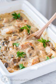 Creamy Chicken and Mushroom Casserole (aka Chicken Gloria) perfect for parties! @natashaskitchen
