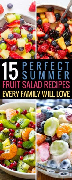 These fruit salad recipes are THE BEST! I am so glad I found these AMAZING easy & delicious summer fruit salad recipes. Now I can save time and money in the kitchen whipping up a healthy dessert for a crowd. Winter Fruit Salad, Summer Salads With Fruit, Salads For A Crowd, Desserts For A Crowd, Food For A Crowd, Summer Desserts, Vegan Desserts, Easy Desserts, Fruit Salad With Yogurt
