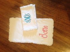Monogrammed burp cloth set