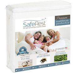 King Size SafeRest Premium Hypoallergenic Waterproof Mattress Protector - Vinyl Free