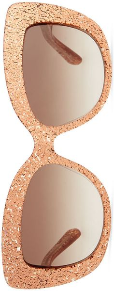 kate spade new york ursula glitter cat-eye sunglasses, rose gold