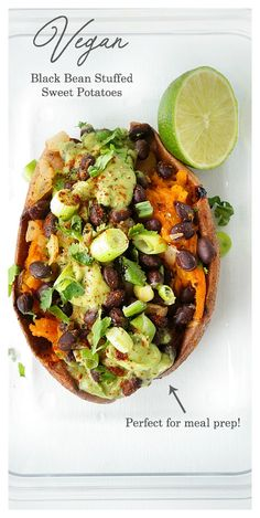 for a super tasty meatless and gluten-free meal? These black bean stuffed sweet potatoes with an avocado creme are the ultimate heart-healthy make-ahead vegan meal. Perfect option for meal prep during those busy weeks! Heart Healthy Recipes, Whole Food Recipes, Heart Healthy Dinner, Paleo Dinner, Healthy Desserts, Dinner Recipes, Gluten Free Recipes, Vegan Recipes, Gluten Free Meals
