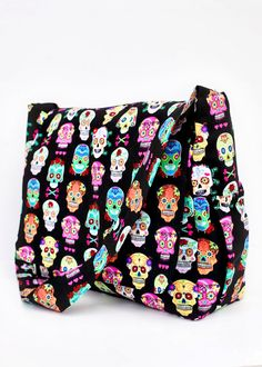 Punk Rock  Sugar Skull Diaper Bag  Ready To Ship by RockerByeBaby