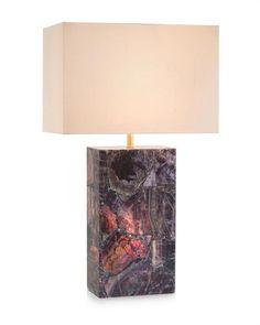 Limited Production Design & Stock: Natural Agate Console Lamp * Blue & Purple * 25 Watt Illuminated Base * Beige Silk Shade * 60 Watts A Bulb * H: 30 inches