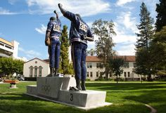 The Smith-Carlos Statue, designed by artist Rigo 23, honors 1968 Olympians and SJSU student activists Tommie Smith and John Carlos. The sculpture depicts their silent protest for human rights, while standing on the Olympic podium #SJSU
