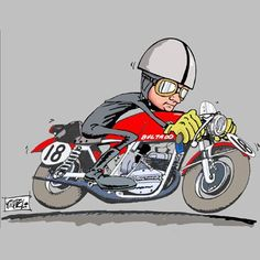 Bultaco Mercurio, Joes Bar, Cafe Racing, Mascot Design, Motorcycle Style, Valentino Rossi, Cool Cartoons, Motocross, Cars And Motorcycles