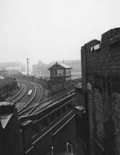 Middle Hill - Weekday Cross. Showing the GNR railway viaduct and signal box for Weekday Cross, the Lace Market, Nottingham, c 1970.