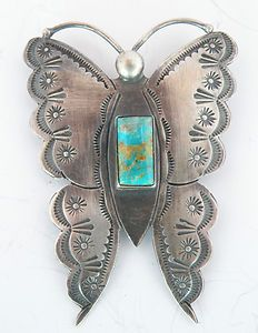 Navajo Butterfly Sterling & Turquoise Brooch Fred Harvey Style
