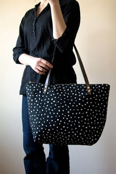 Screen Print Linen Tote Bag Black Brown Leather Handles. $84.00, via Etsy.