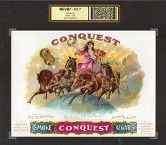 vintage cigar labels | Conquest Archived Vintage Cigar Box Advertising Label #5914 001.jpg