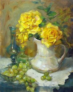 "Daily Paintworks - ""White Pitcher with Yellow Roses"" - Original Fine Art for Sale - © Barbara Schilling"