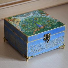 Wooden keepsake peacock wood storage Victorian memory box blue gold wedding blue storage jewelry box blue jewellery diwali gift for wife Cigar Box Art, Cigar Box Crafts, Cigar Boxes, Painted Jewelry Boxes, Painted Boxes, Diy Trinket Box, Wooden Name Plates, Wedding Jewellery Boxes, Shabby Chic Boxes