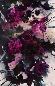 "Amelia Mullins, Hand-painted ink on cartridge paper  - I see this painting as an ""explosion of beauty"" or..... rebelling of the roses.. showing their real character behind their prettiness. It can be really dark, vicious."