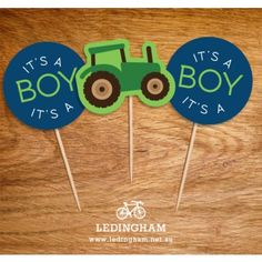 Red or Green Tractor Cupcake Toppers (Personalised DIY Printables)