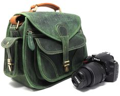 Purple Relic: Vintage Leather DSLR Camera Bag (Green); Crossbody; Fits DSLR with Lens For Canon Nikon Sony;