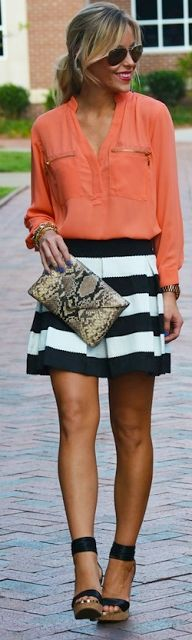 Outfit Posts: outfit post: coral/peach crepe blouse, striped skirt, wedges