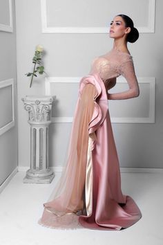 A calm pink silky gown made of a dentelle corset #jczakaria #couture