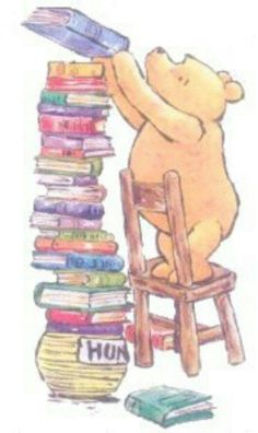 Pooh and his books.