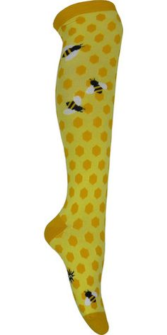 Product Details For: Women Sizing Information: Shoe Size: Women's 5-10 Style: Knee High Primary Colors: Yellow Brand: Sock it to me SKU: 1000429 Made In: Korea Materials: 51% cotton, 47% polyester, 2%