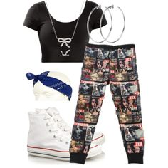 Ambitionz Az A Ridah by little-miss-swag on Polyvore featuring polyvore, fashion, style, Converse, DKNY, Adina Reyter, River Island and clothing