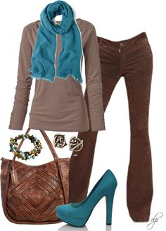 """Brown & Teal"" by cristypeterson on Polyvore"