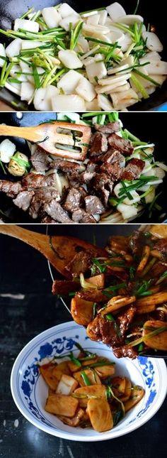 Steak Scallion Rice Cake Stir-fry