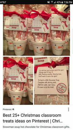 Snowman soup hot chocolate for Christmas classroom gifts. The snowman soup consists of a hot chocolate packet, mini marshmallows and a candy cane christmas gifts for teachers Noel Christmas, Christmas Goodies, Class Christmas Gifts, Preschool Christmas Gifts For Classmates, Christmas Recipes, Christmas Classroom Treats, School Christmas Party, Kindergarten Christmas, Christmas Gifts For Coworkers