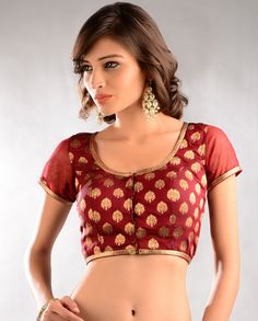 Maroon Red and Golden Brocade Blouse