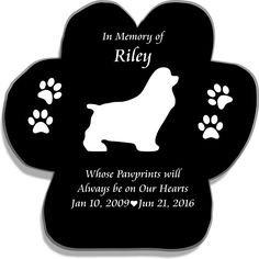 Pet Memorial Paw Print with Silhouette, Heart