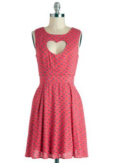 Even though I'm not a fan of pink, this would be such a cute dress for a valentine's day date. Heart And Center Dress, #ModCloth