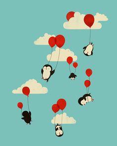 pingouin en parachute