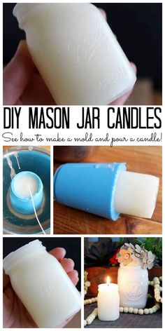 Make Your Own Mason Jar Candles With these DIY candle making techniques, you can make mason jar candles! These mason jar shaped candles would make great gifts! The post Make Your Own Mason Jar Candles appeared first on Crafts. Mason Jar Candles, Mason Jar Lighting, Diy Candles, Scented Candles, Beeswax Candles, Bottle Candles, Candle Gifts, Scented Wax, Wine Bottle Crafts