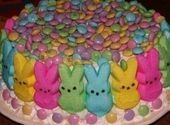 This was made last year by my grand daugther it was a hit and so much even the kids help decorate it. just in time for easter Peeps Recipes, Cake Mix Recipes, Easter Recipes, Easter Peeps, Easter Candy, Kid Desserts, Holiday Desserts, Easter Cake Mix, Lemon Cake Mixes