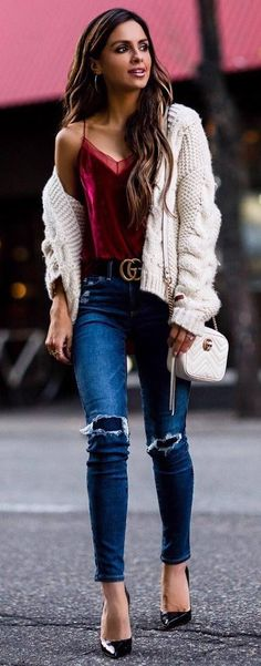 what to wear with a velvet top white cardi heels rips