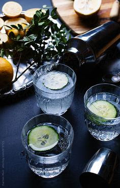 Cucumber and lemon mocktails. by Darren Muir