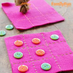 Make a Travel Tic-Tac-Toe Game: This portable game mat is dressed up with button playing pieces (taking an expedition to choose them can be part of the fun). If you like, make a little bag for them, using a felt circle and a thread or ribbon tie.