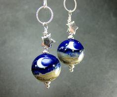 Crescent Moon Glass Bead Earrings, Cobalt Blue Lampwork Earrings, Sterling Silver Star Earrings, Moon Earrings - Wish Upon a Star. $32.00, via Etsy.