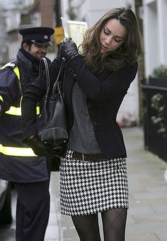 Houndstooth skirt, gray top, black blazer