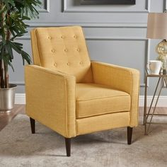 Shop Mervynn Mid-Century Button Tufted Fabric Recliner Club Chair by Christopher Knight Home - On Sale - Overstock - 15037715 - muted yellow + dark espresso Small Recliner Chairs, Small Recliners, Couches, Mid Century Modern Living Room, Mid Century Modern Furniture, Living Room Orange, Living Room Upholstery, Mid Century Chair, Club Chairs