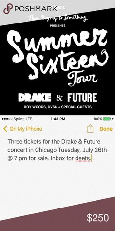 """Drake and Future """"Summer Sixteen"""" Concert tickets I have 3 (NEED TO SELL TOGETHER) Drake and Future concert tickets that my friends and I can no longer make. The concert is in Chicago on Tuesday July 26. The tickets are for the Lower Level (close by the stage) Section 102. We are selling all three together (NO SEPARATING, ALL THREE MUST BE BOUGHT TOGETHER) We originally paid $370 for each ticket and are selling them at a really good price so please no low balling. ❗️SERIOUS INQUIRIES ONLY❗️…"""