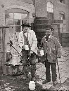 1900: Two villagers at the Bidford Mop, an annual fair held at Michaelmas in the village of Bidford on Avon, Warks., England. The village had a centuries-old reputation for heavy drinking.