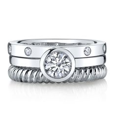 Diamonvita® 1 1/7 ct. tw. Simulated Diamond Stack Ring Set in Sterling Silver.... This is kinda cool!