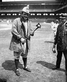 Babe Ruth dressed as a fireman at Comiskey Park in 1928