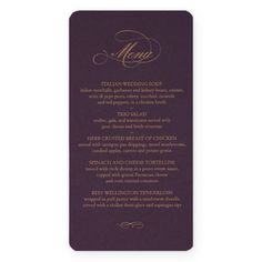 #Wedding #Menu #Card in #raison and #gold by #Checkerboard #Invitations
