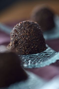 Healthy Chocolate Coconut Truffles:  3 cups shaved coconut 1 1/2 cups cacao powder 3/4 cup agave nectar 1/4 cup coconut oil Pinch sea salt