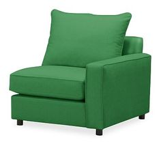 PB Comfort Square Arm Upholstered Right Arm Chair, Knife Edge Polyester Wrapped Cushions, Linen Blend Grass Green