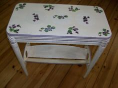 Spring Violet Side Table coming soon to Black Diamond  Romantic country/American Address...la parisienne view booth...  lovely in home décor, covered porch, or garden wedding displays.  Visit Memory Furniture Finds Facebook Page.