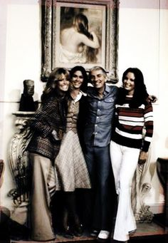 """Aaron's Angels :) Aaron Spelling with Farrah Fawcett, Kate Jackson and Jaclyn Smith on the set of """"Charlie's Angels"""" during Season 1 (1976-1977)"""